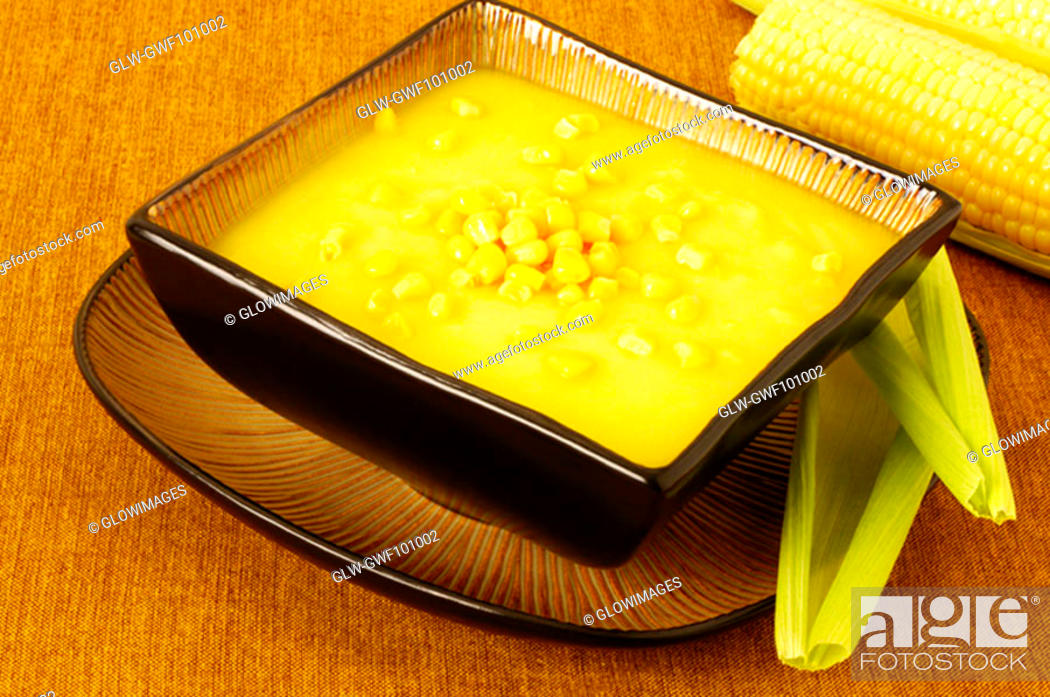 Stock Photo: High angle view of a bowl of corn soup.