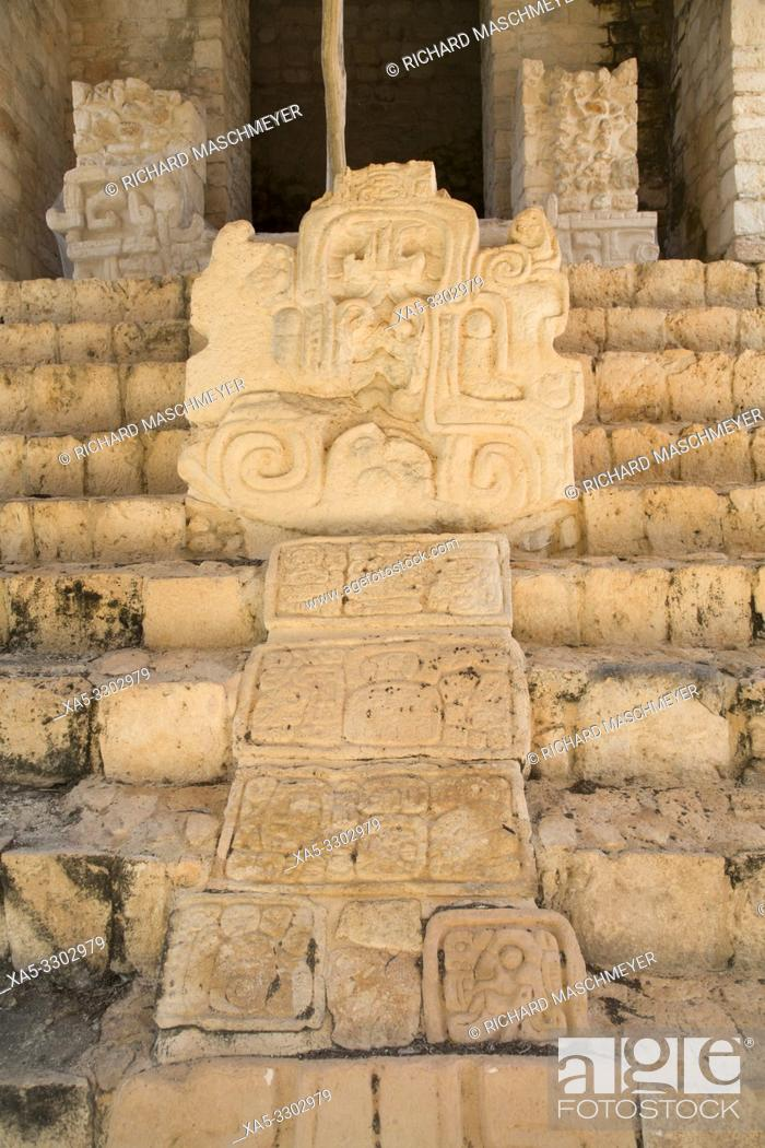 Stock Photo: Sculpture, Serpent Head with Mayan Hieroglyphs, Structure 1, The Acroplolis, Ek Balam, Yucatec-Mayan Archaeological Site, Yucatan, Mexico.