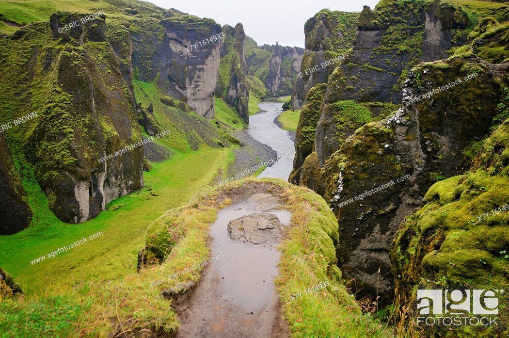 Stock Photo: Fjardrargljufur Gorge, Iceland.