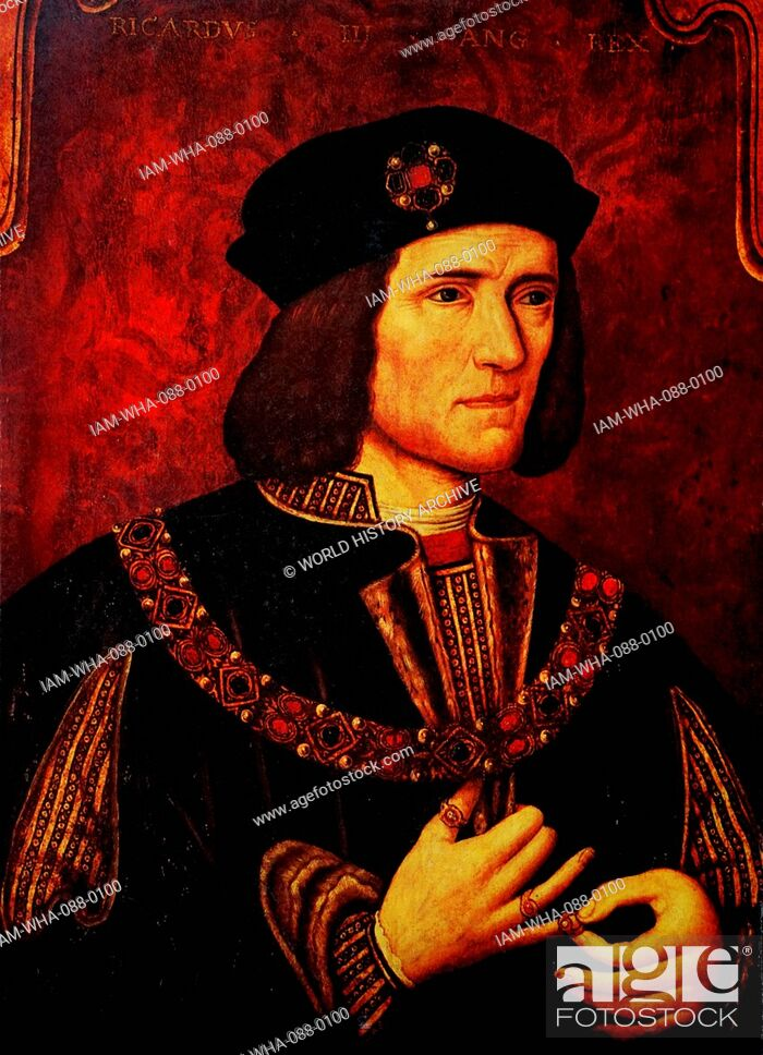 Stock Photo: Portrait of Richard III of England (1452-1485) King of England until his death at the Battle of Bosworth Field. Dated 15th Century.