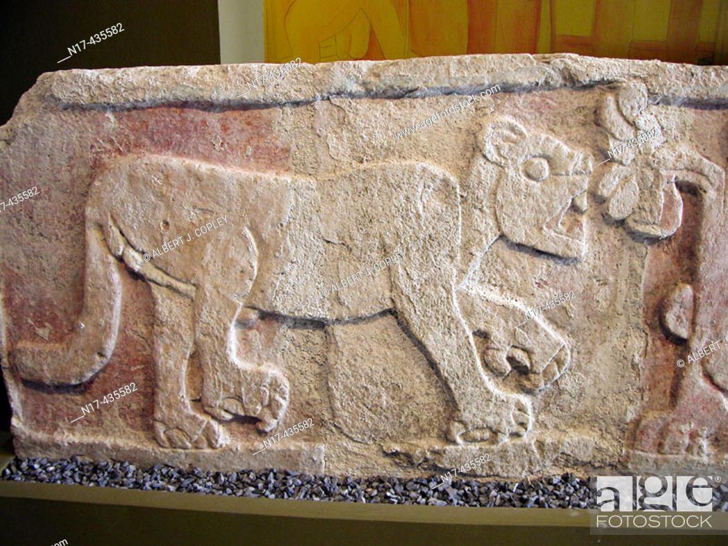 Stock Photo: Maya jaguar relief in museum, Mérida. Yucatán, Mexico.