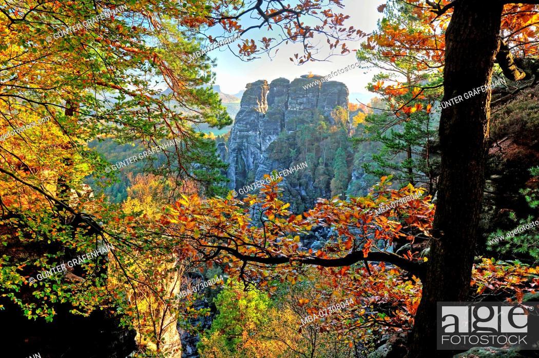 Stock Photo: Rock landscape at the Bastei, health resort Rathen, Elbe Sandstone Mountains, Saxon Switzerland, Saxony, Germany.