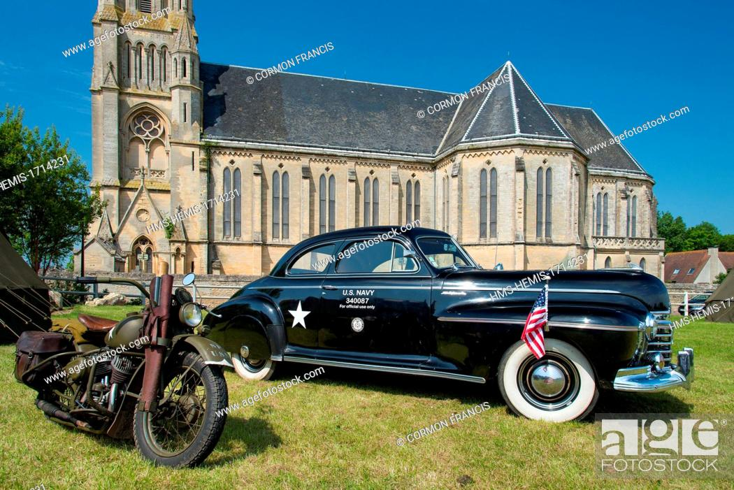 Stock Photo: France, Calvados, Saint Aubin sur Mer, commemoration of the June 6 1944, 69th anniversary, camp extras, car reserved for the Navy officiated.