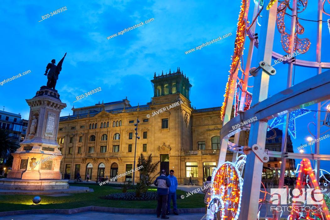 Stock Photo: Victoria Eugenia Theatre, Okendo square, Christmas lights, Donostia, San Sebastian, Gipuzkoa, Basque Country, Spain, Europe.