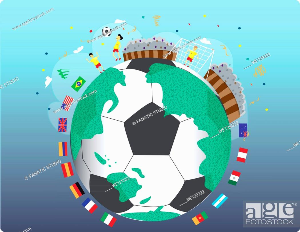 Imagen: Illustrative image of various national flags around soccer ball representing national sports.