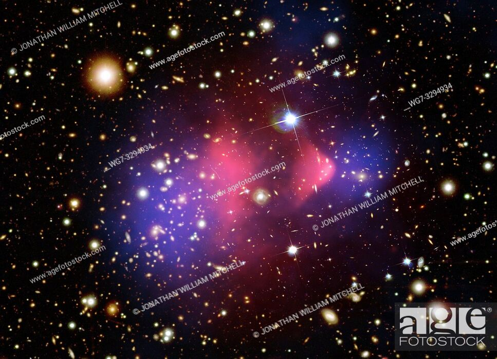 Stock Photo: OUTER SPACE -- Visible-Light and X-Ray Composite Image of Galaxy Cluster 1E 0657-556 -- Picture by Lightroom Photos / NASA / Topfoto.
