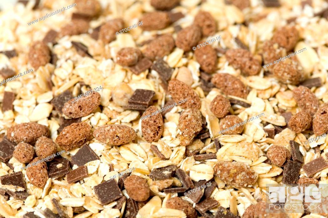 Stock Photo: Detail of chocoalte muesli.