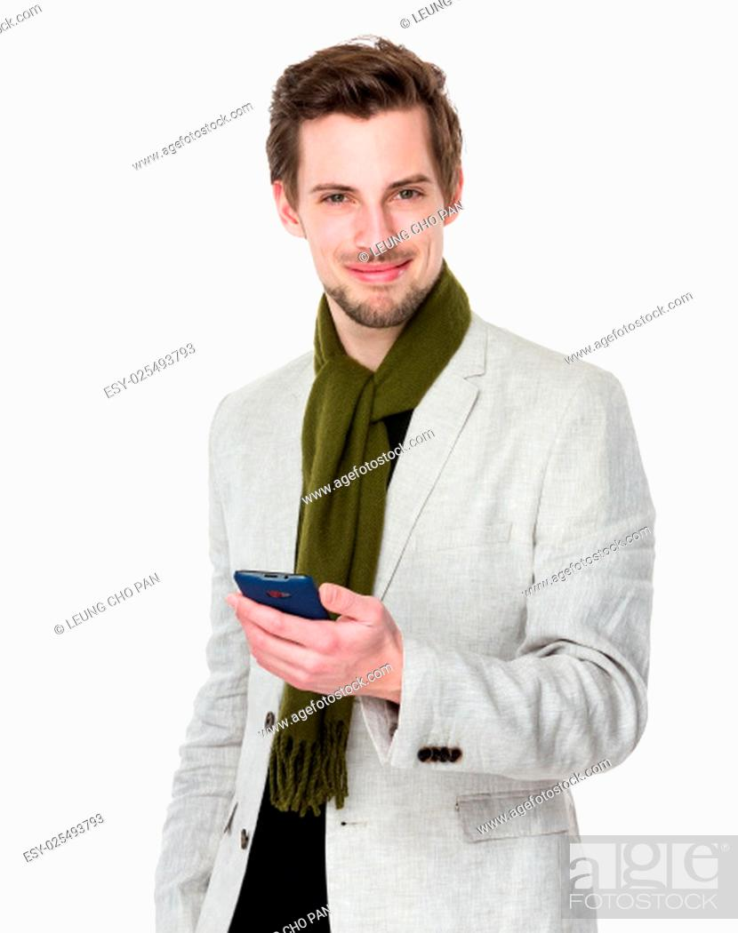 Stock Photo: Man use of mobile phone.