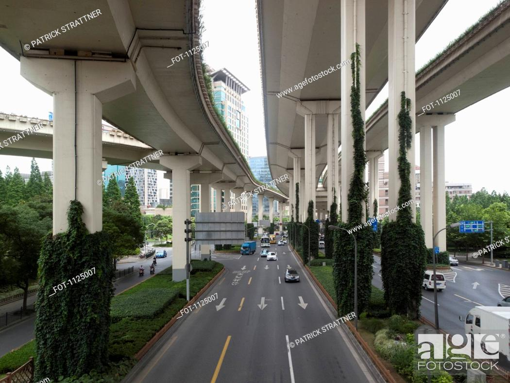 Stock Photo: Multiple lane one way street in Shanghai, China.