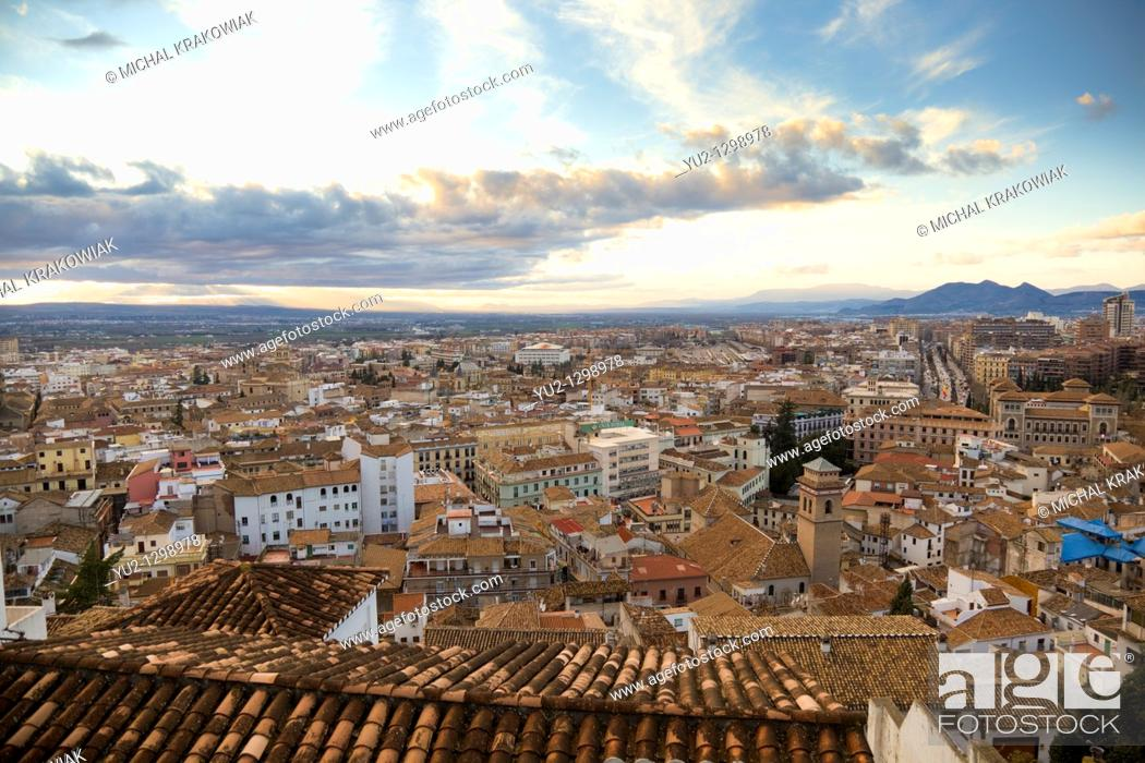 Stock Photo: View on Central part of Granada from upper Albayzin.