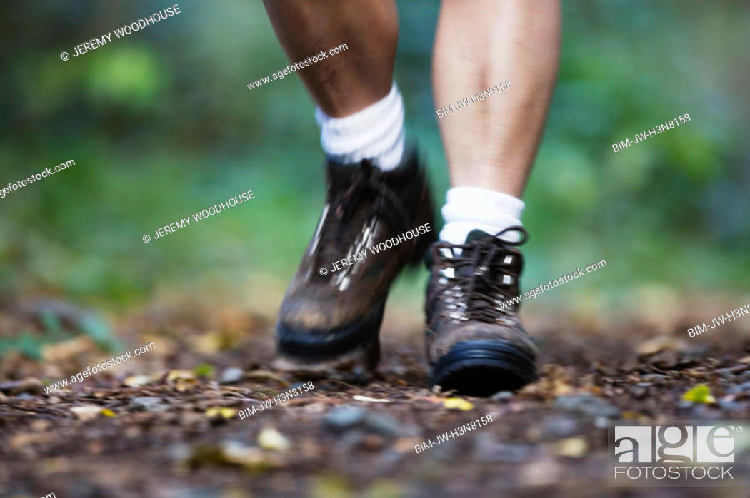 Stock Photo: Close-up of man's hiking shoes.