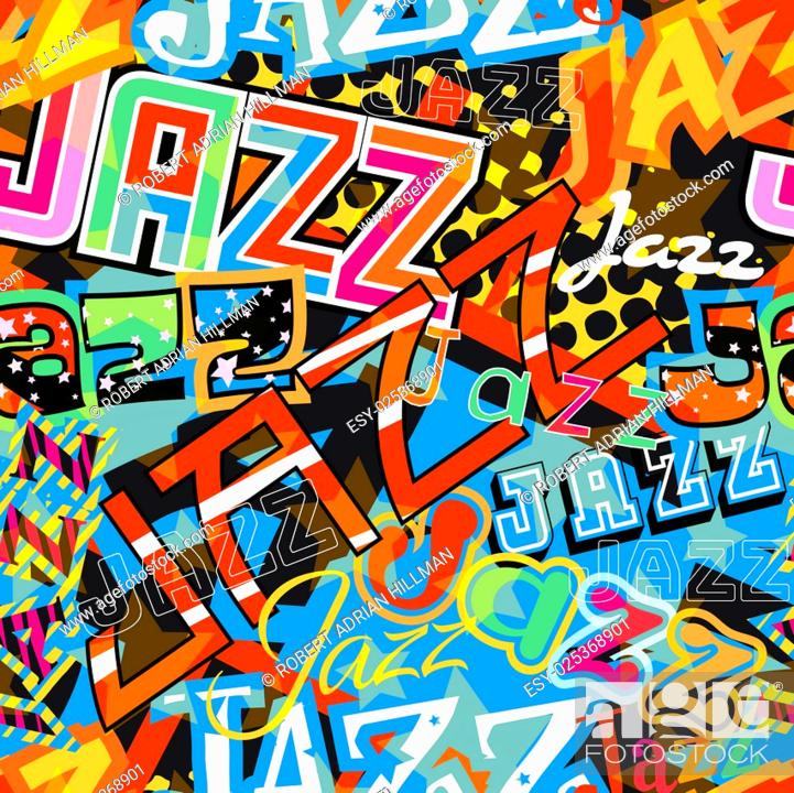 Stock Vector: Vector seamless tile of the word Jazz in different colorful typefaces.