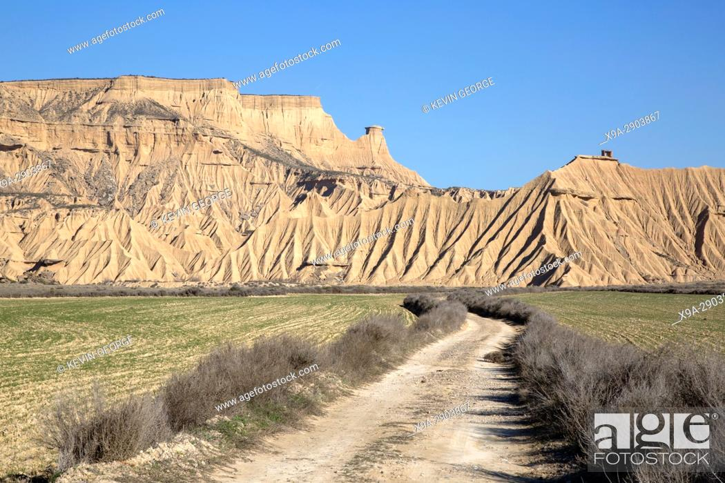 Stock Photo: Track in Bardenas Reales Park; Navarre; Spain.