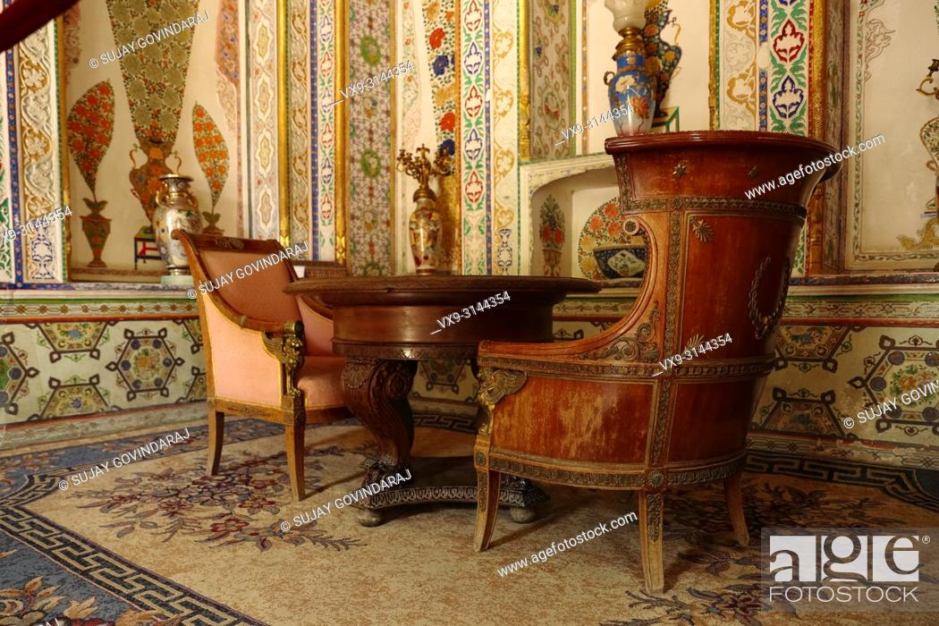 Stock Photo: Bukhara, Uzbekistan - August 28, 2016: Interiors of Sitorai Mokhi Khosa Palace, a residence of Amir of ancient Bukhara.