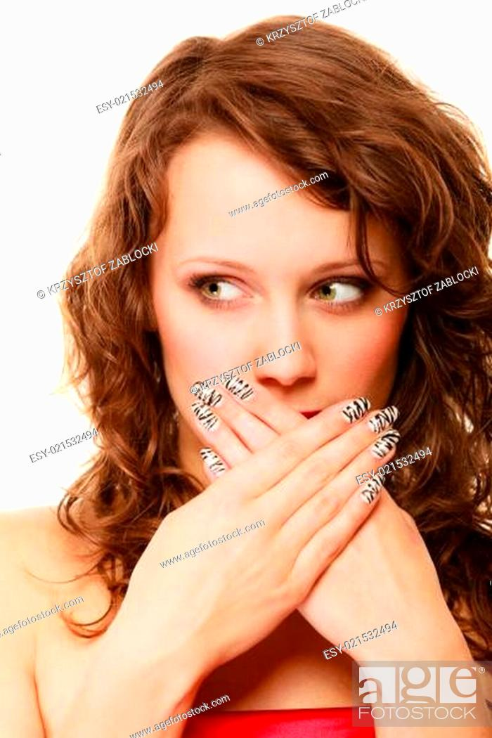 Stock Photo: surprised woman face, girl covering her mouth over white.