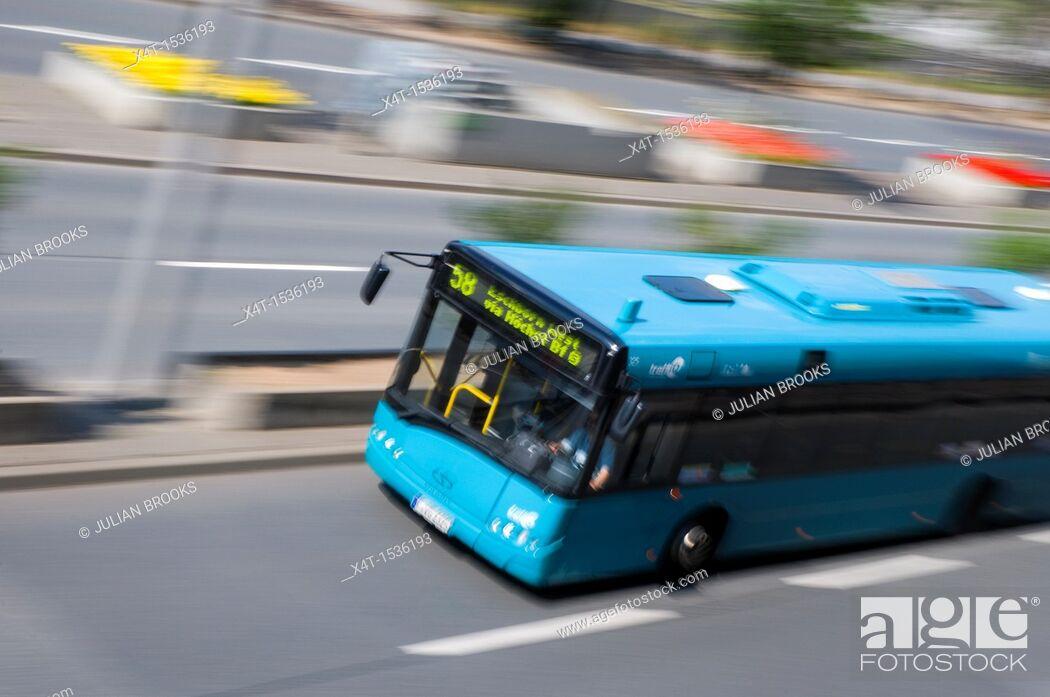 Stock Photo: Number 58 bus speeding past in Frankfurt.