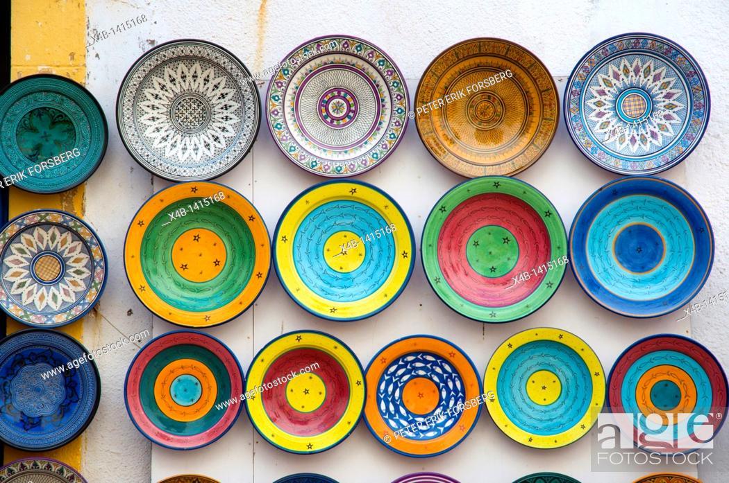 Stock Photo: Souvenir plates Medina old town Essaouira central Morocco northern Africa.