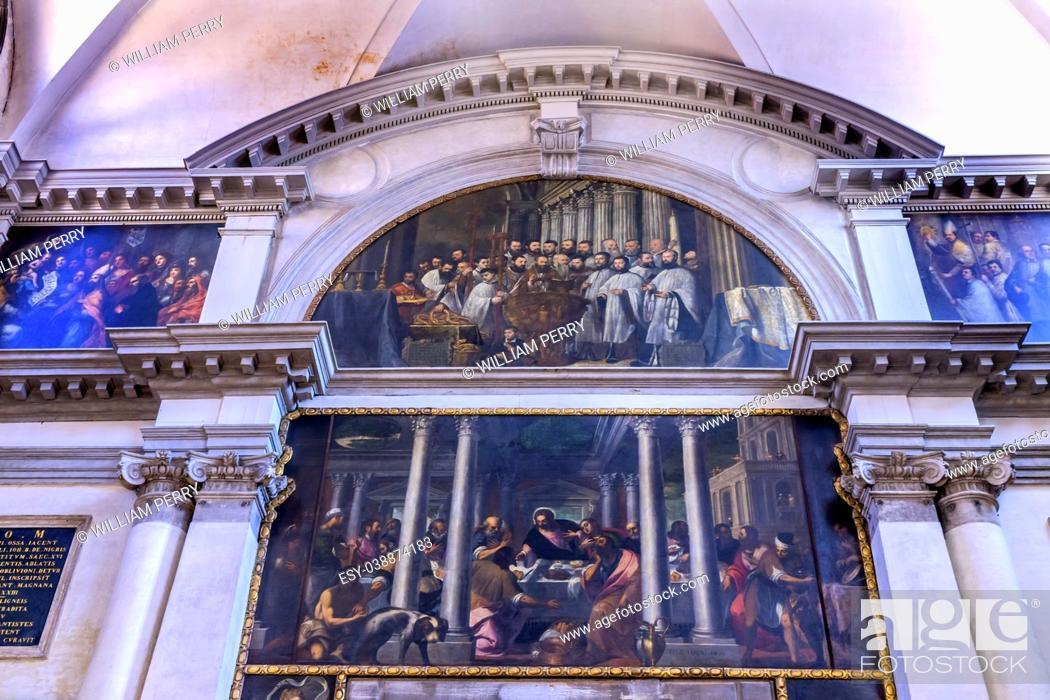Stock Photo: Santa Maria Giglio Zobenigo Church Basilica Paintngs Venice Italy. Founded in the 9th Century Rebuilt in 1600s.