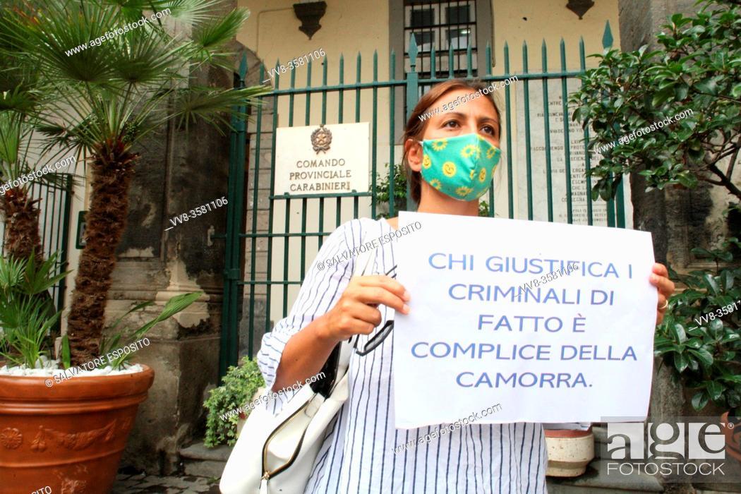Stock Photo: Francesco Emilio Borrelli, politician Regional Councilor of Campania( Consigliere Regionale della Campania) of party DAVVERO VERDI with the activists in.