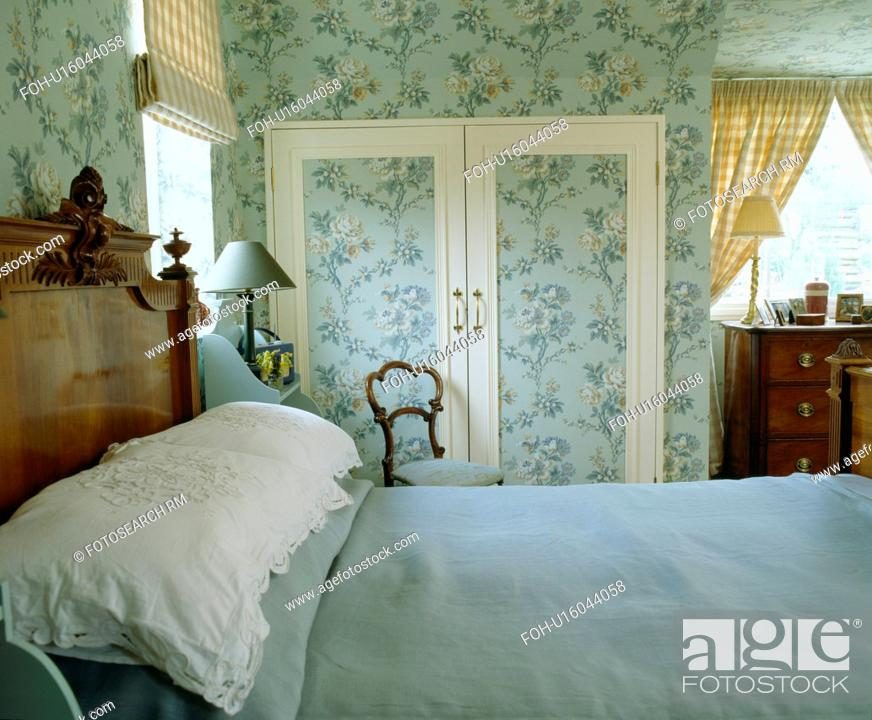 Stock Photo Blue Linen And White Pillows On Bed In Country Bedroom With Fl