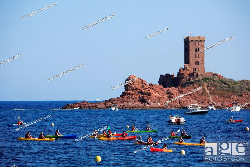Stock Photo: France, Var, Esterel Corniche, Agay village, Cap Dramont and ile d' Or Golden Island.