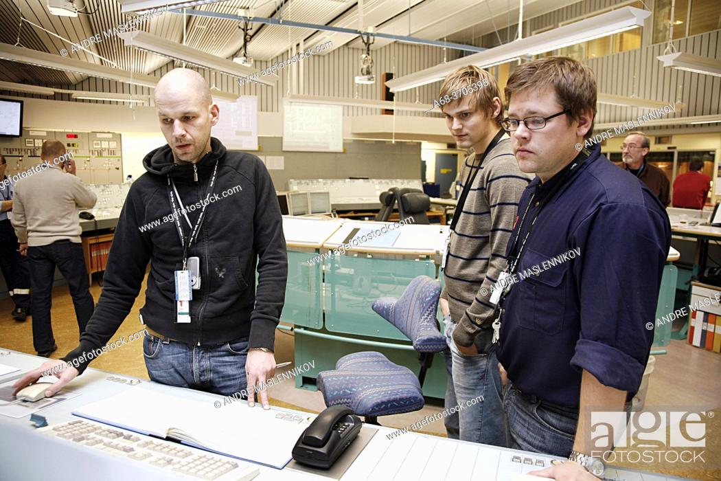 Stock Photo: Operators in the control room in Forsmark nuclear power plant.