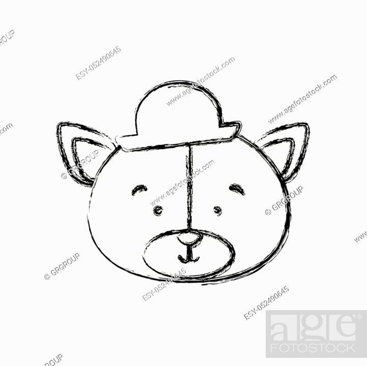 Stock Vector: monochrome contour blurr with face of groom bear vector illustration.