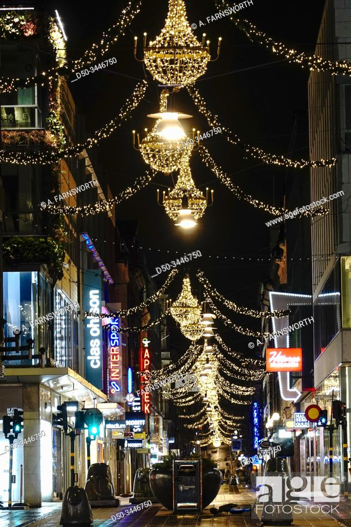 Stock Photo: Stockholm, Sweden The Drottninggatan street in the early morning at Christmas time.