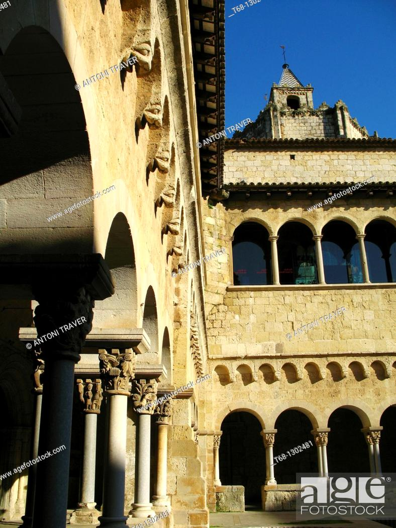 Stock Photo: Cloister of the Monastery of Sant Cugat del Valles, Barcelona province, Catalonia, Spain.