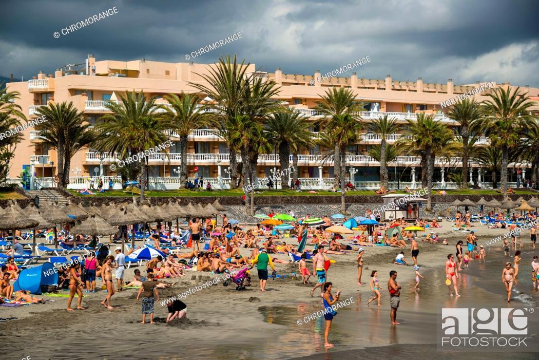 Imagen: Strand, Playa de las Américas, Teneriffa, Kanarische Inseln, Kanaren, Spanien, Europa.