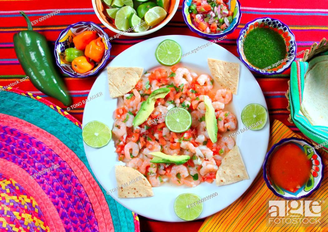 Stock Photo: camaron shrimp ceviche raw seafood salad Mexico chili sauces.