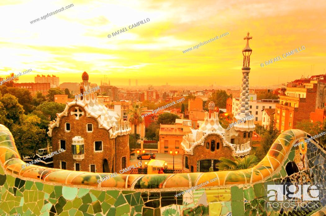 Stock Photo: Parc Güell. Garden complex with architectural elements situated on the hill of el Carmel. Designed by the Catalan architect Antoni Gaudí and built in the years.