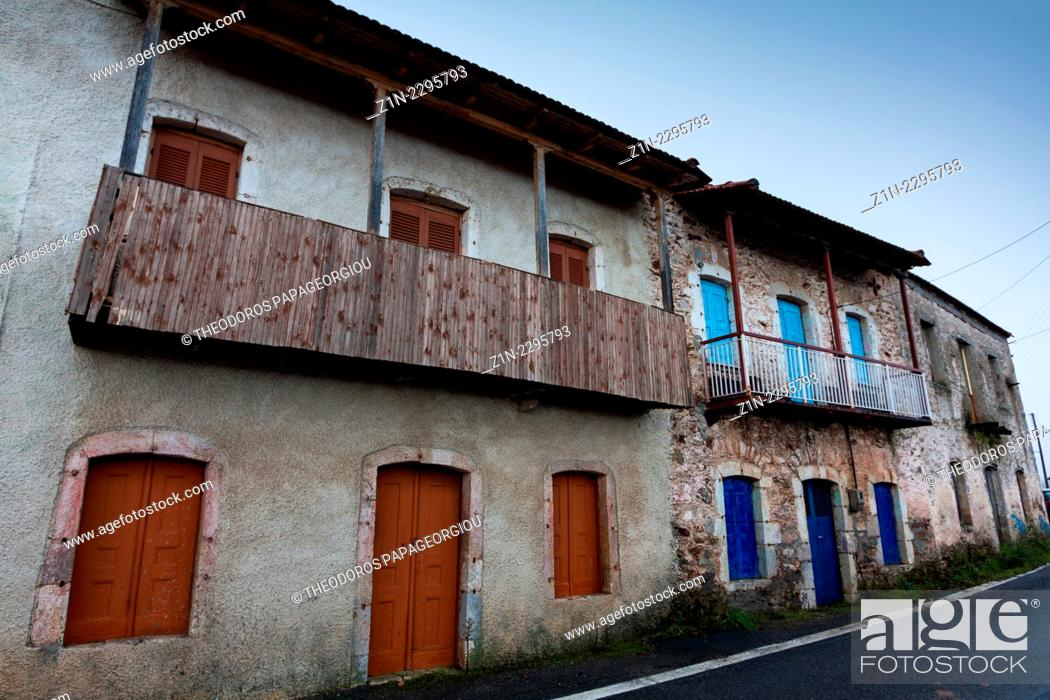 Stock Photo: Houses at Vlachokerasia village. Arcadia, Peloponnese, Greece.