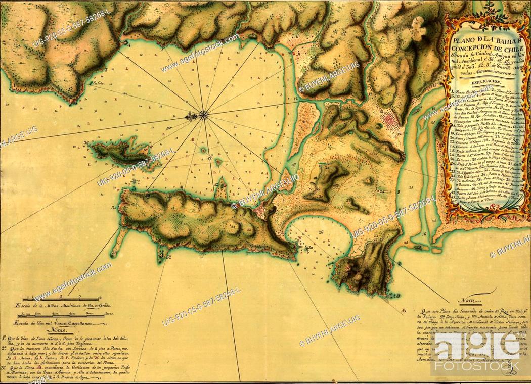 Stock Photo: Plano de la Bahía de Concepción de Chile situada la ciudad antigua en latitud meridional de 36sup0/sup42'53' y en longitud de 303sup0/sup52'3' de Tenerife.