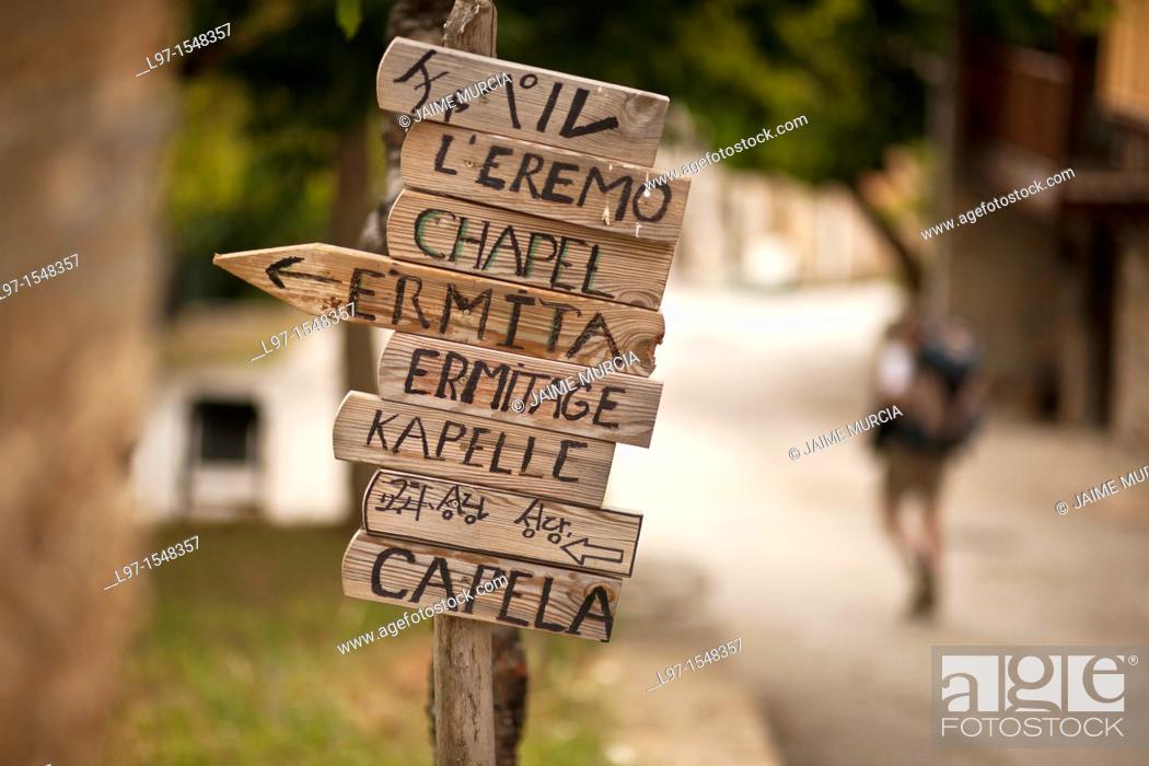 Stock Photo: Signs in the village of Riego de Ambros along the Camino de Santiago.