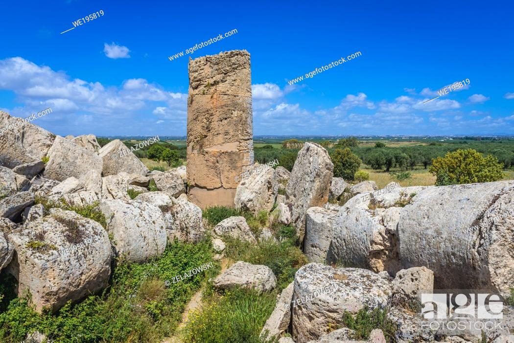 Stock Photo: Temple G - Zeus Temple on a East Hill of Selinunte ancient Greek city on the south western coast of Sicily in Italy.
