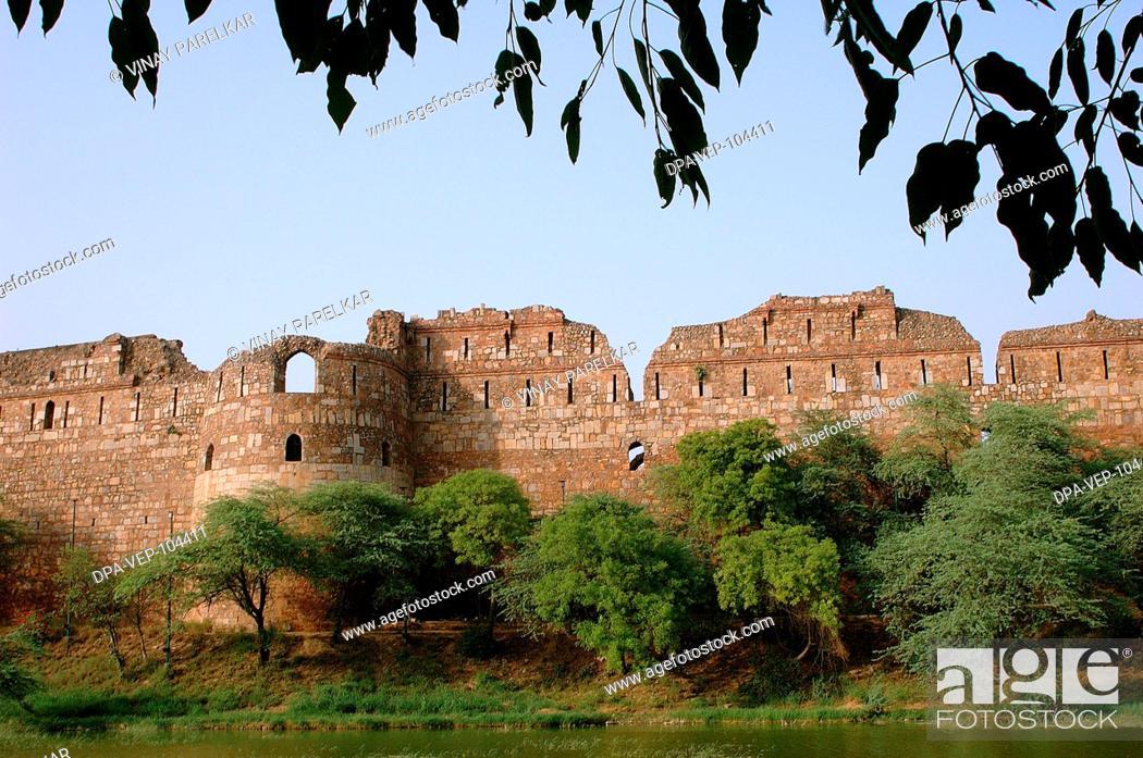 Stock Photo: Purana Quilla , Old Fort , main entrance wall with adjoining lake , New Delhi , India.