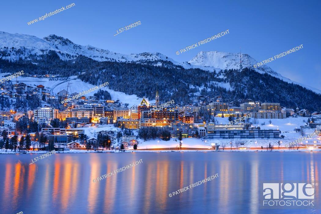 Stock Photo: St. Moritz by night, Graubuenden, Switzerland.