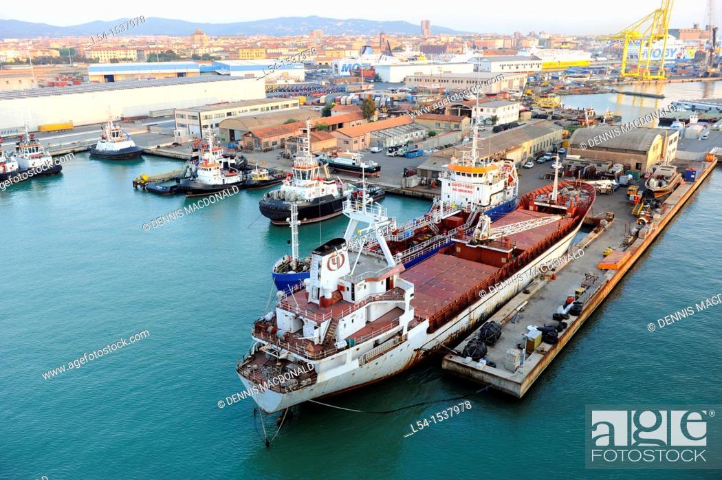 Stock Photo: Livorno Italy Europe Port Shipping Transportation Goods.