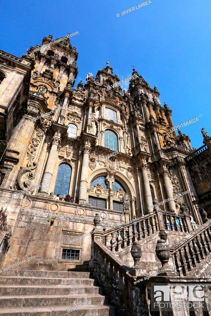 Stock Photo: Cathedral, Praza do Obradoiro, Santiago de Compostela, A Coruña province, Galicia, Spain.