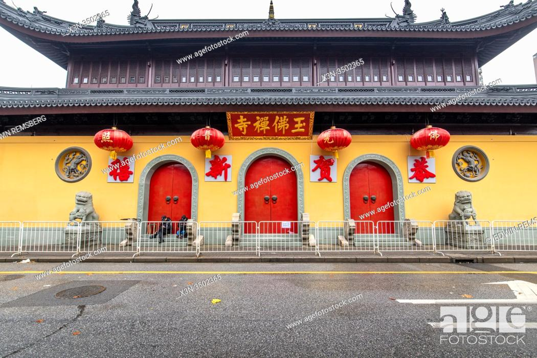 Stock Photo: Entrance to the closed Jade Buddha Temple in Shanghai, China.