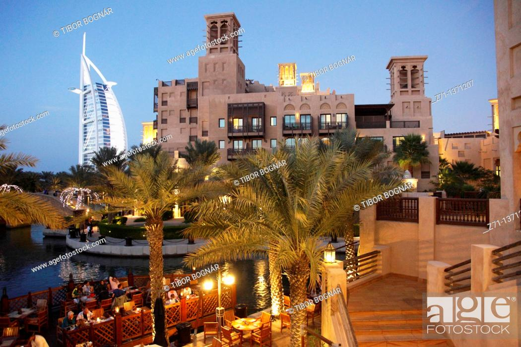 Stock Photo: United Arab Emirates, Dubai, Burj Al Arab, Madinat Jumeirah,.