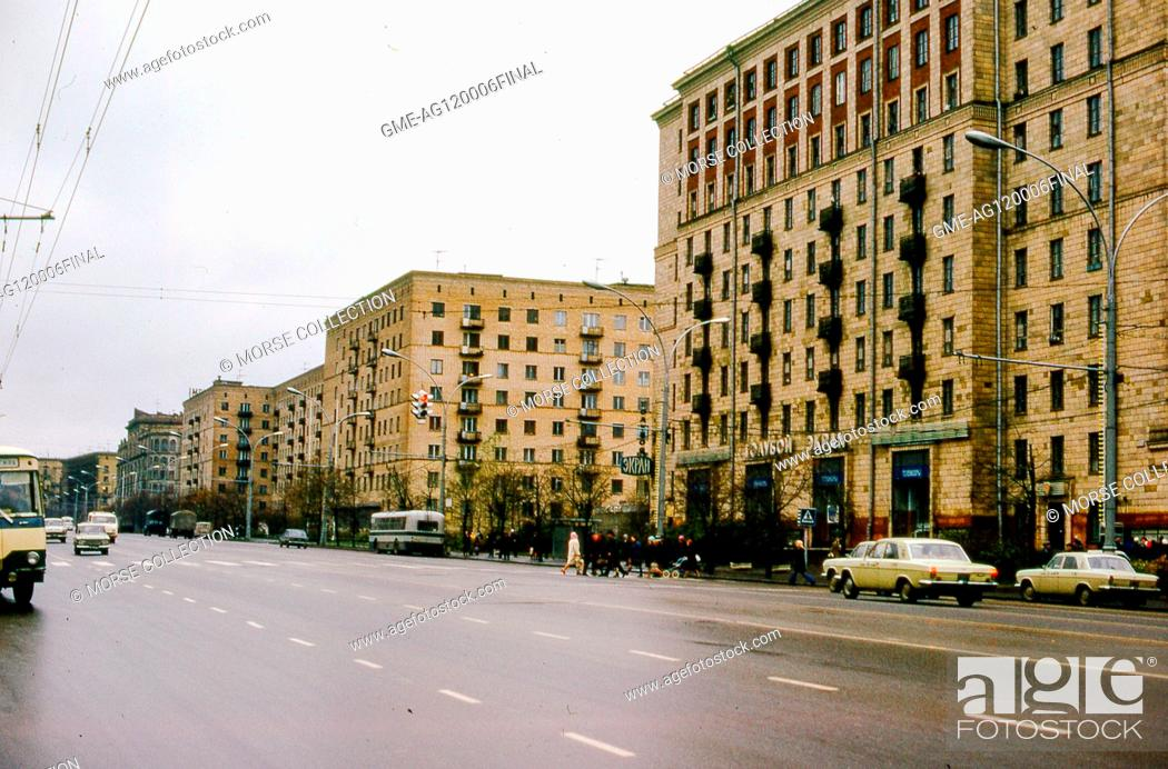 Imagen: View of the Ekran television and film studio headquarters on Gorky Street (Tverskaya Street), in Moscow, Russia, Soviet Union USSR, November, 1973.