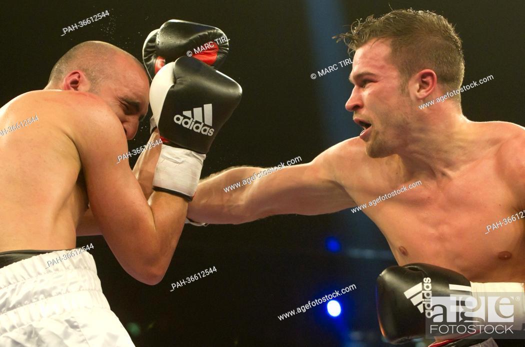 German super middleweight boxing pro Dominik Britsch (R) fights