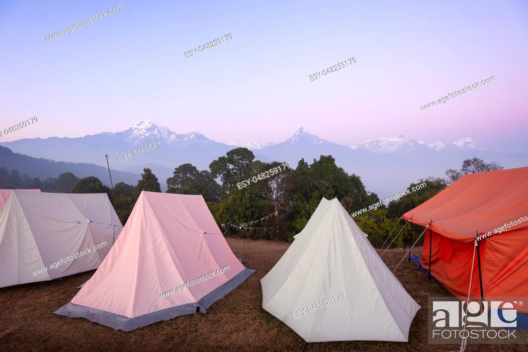 Stock Photo: Tents set up for group camping in the Annapurna Region, Nepal.