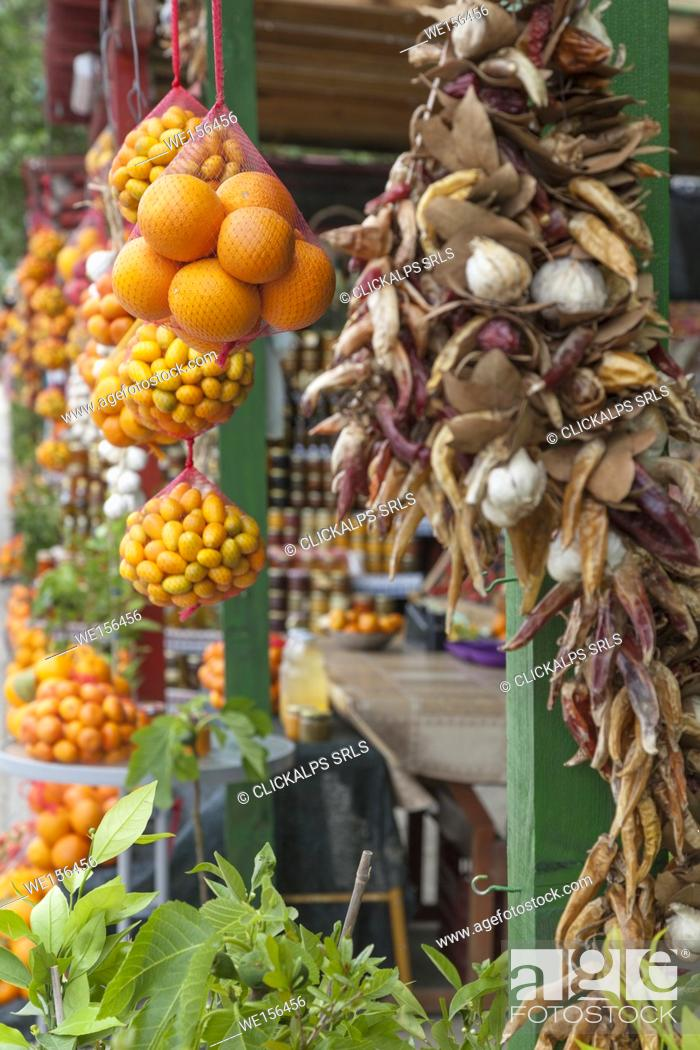 Stock Photo: Citrus fruits and other local products on sale in a roadside fruit and vegetable stand near Komin, Croatia.