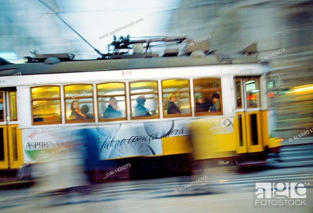 Stock Photo: Tram  Lisbon  Portugal.