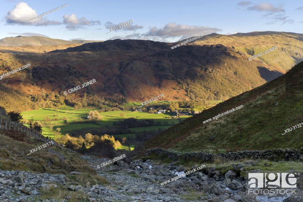 Stock Photo: Tounge Gill below Rigghead Quarries with Rosthwaite in the Borrowdale Valley beyond in the Lake District National Park, Cumbria. , England.
