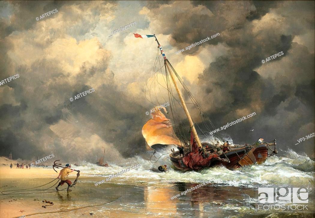 Stock Photo: Cooke Edward William - Dutch Pinck Hauling off Shore - British School - 19th Century.