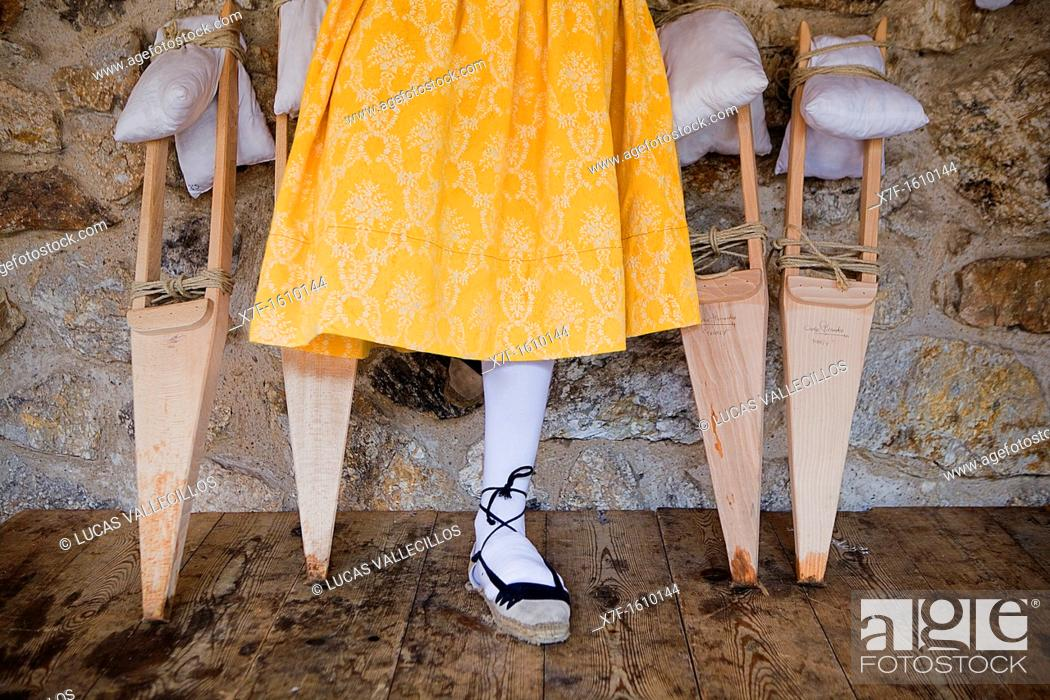 Stock Photo: preparing 'Danza de los Zancos' folk dance, Anguiano, La Rioja, Spain.